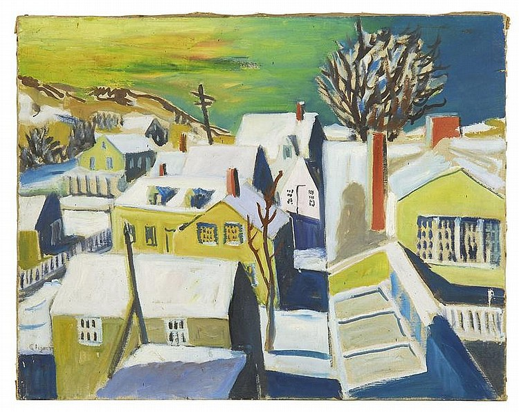JAMES FLOYD CLYMER, American, 1893-1982, Provincetown rooftops., Oil on canvas, 22