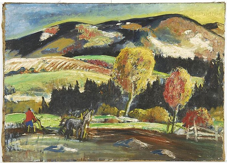 JAMES FLOYD CLYMER, American, 1893-1982, Mountain landscape., Oil on canvas, 32