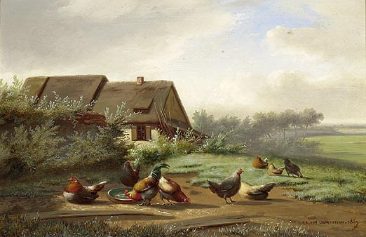 FRAMED PAINTING Roosters in a farmyard. Signed lower right