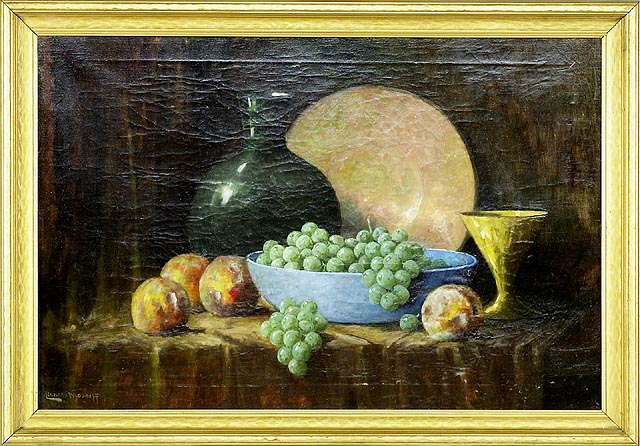FRAMED PAINTING Still life with pottery and fruit. Signed lower left