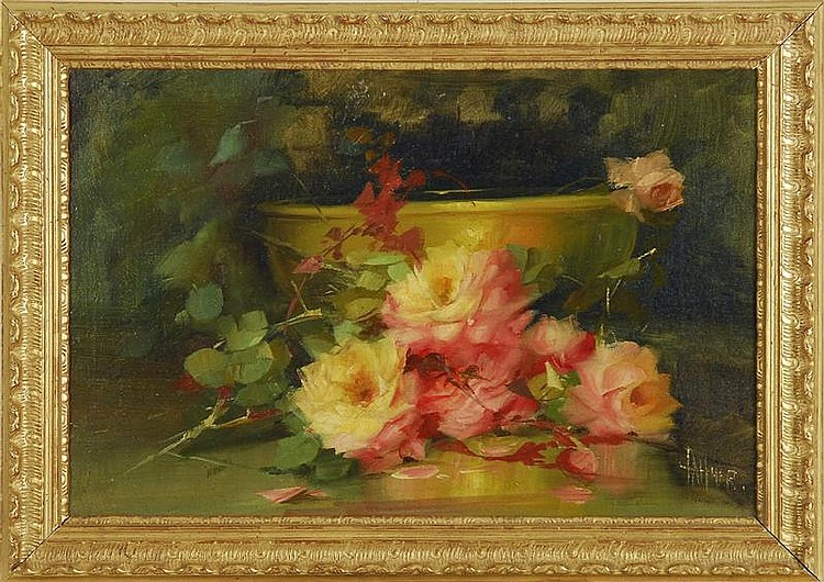 FLORINE A. HYER, American, 1868-1936, Floral still life., Oil on canvas, 16