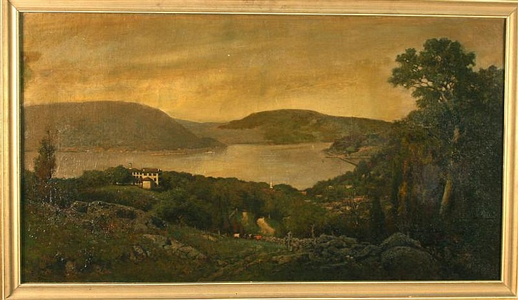 FRANK ANDERSON, American, 1844-1891, Scenic view looking down on the Hudson., Oil on canvas, 20½
