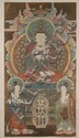 SCROLL PAINTING ON SILK Depicting Buddha enthroned with numerous acolytes, all on a brown ground. 66