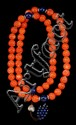 CORAL BEAD NECKLACE In mandarin style with fifty-eight carved coral beads (approx. 18 mm each) and three lapis lazuli beads. Length...