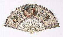 SILK AND IVORY FOLDING FAN Painted silk leaf with central vignette of a Roman bride (?) flanked by classical urns flanked by women a...