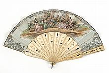 PAPER AND BONE FOLDING FAN Double-sided paper leaf with lithographed scene on front face of musicians and courting couples; reverse...