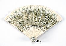 CHILD'S BONE BRISÉ FOLDING FAN Pierced flower and leaf design tinted in soft colors of green, pink, and gold. Mother-of-pearl washer..