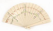 CHILD'S CELLULOID BRISÉ FAN Painted with a garland of lavender flowers on a green leafy vine. Pink ribbon. Matching loop. Length 4.7..