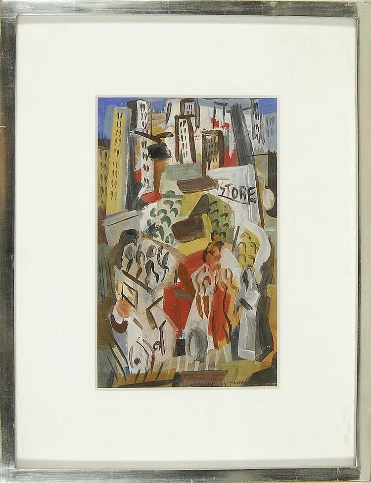 VACLAV VYTLACIL, American, 1892-1984, City scene with crowd, circa 1932., Casein tempera on board, 10½