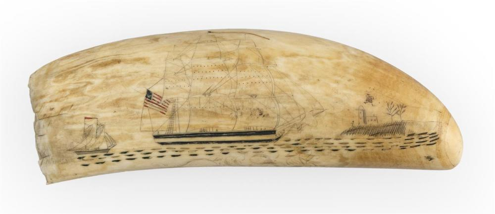 POLYCHROME SCRIMSHAW WHALE'S TOOTH WITH AMERICAN-FLAGGED SHIP Obverse depicts a three-masted ship flying a red, white and blue Ameri..