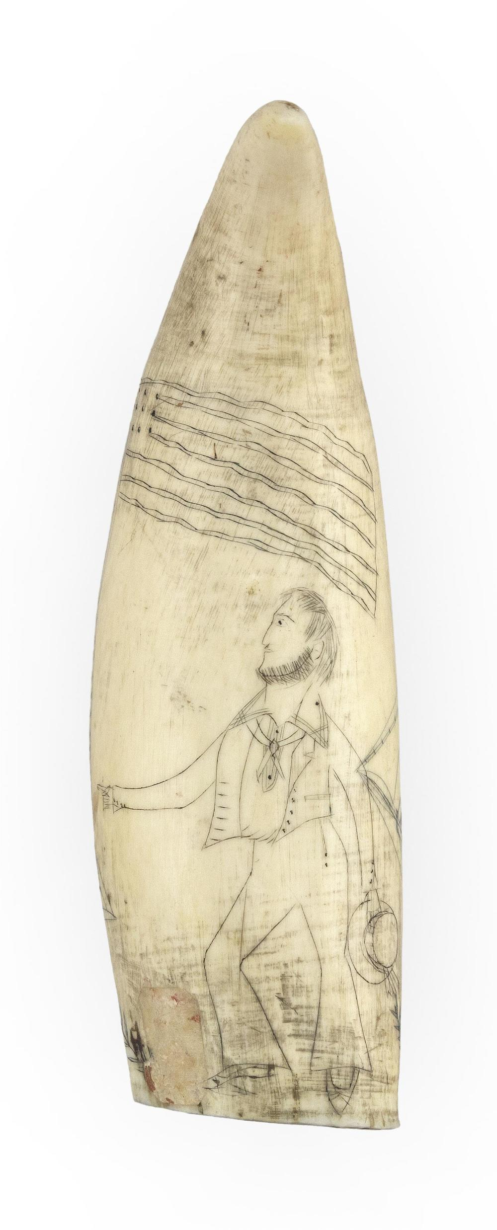 SCRIMSHAW WHALE'S TOOTH WITH WHALESHIP AND SAILOR Obverse depicts a port view of a ship at sea, flying an American flag off the ster..