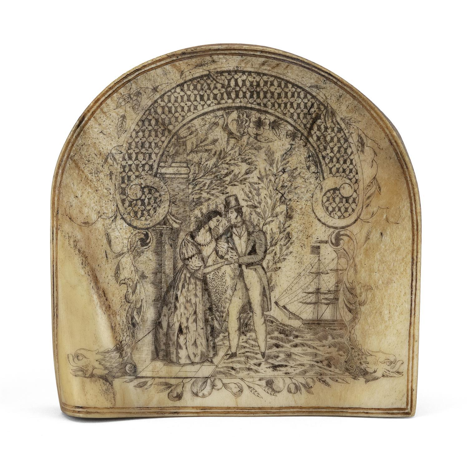 """ELABORATELY ENGRAVED BONE PANEL TITLED """"THE FAREWELL"""" Depicts a man in a top hat comforting a lady, while his American-flagged ship..."""