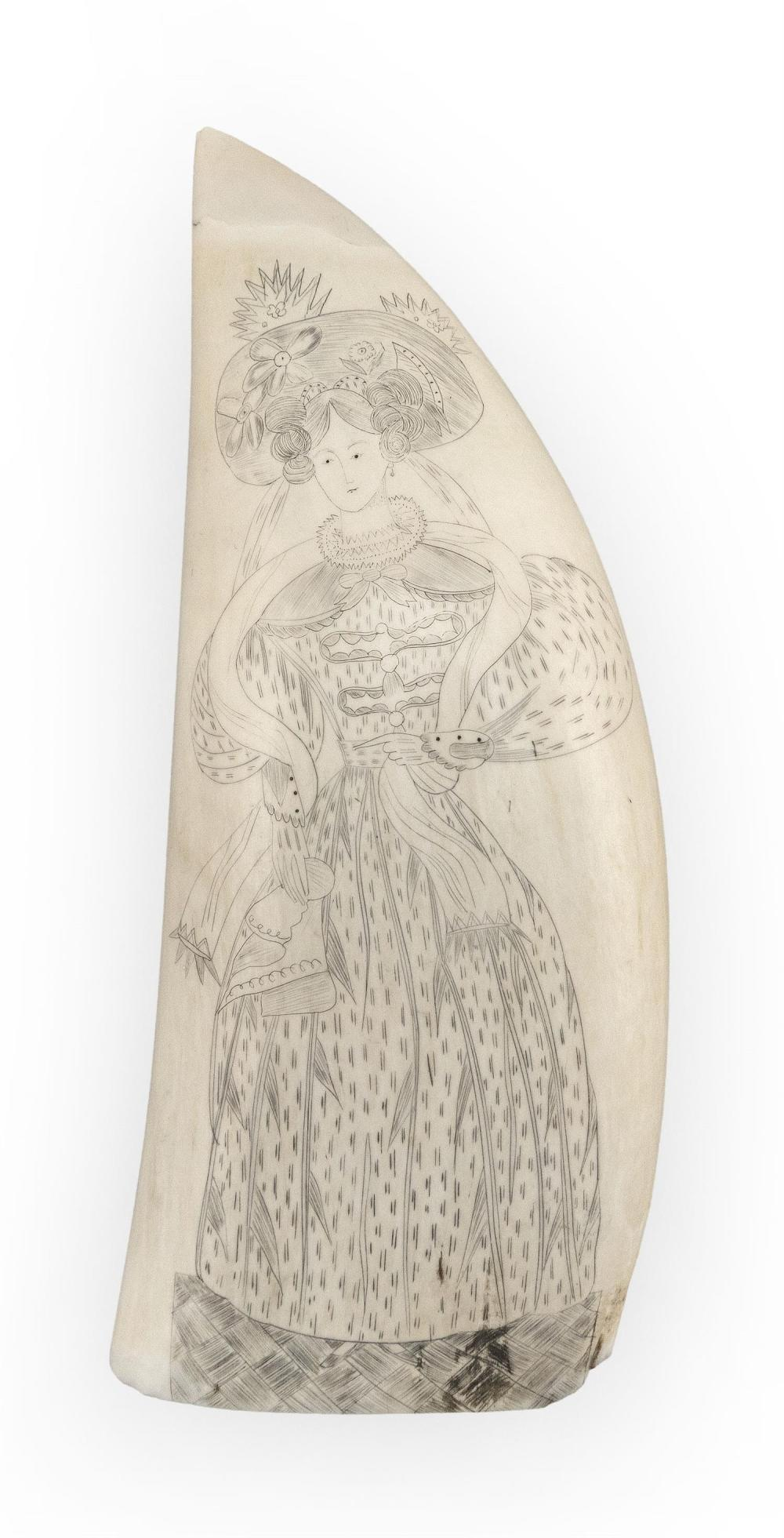 SCRIMSHAW WHALE'S TOOTH ATTRIBUTED TO WILLIAM SIZER Obverse depicts a full-length portrait of a woman in Renaissance-like attire, in..