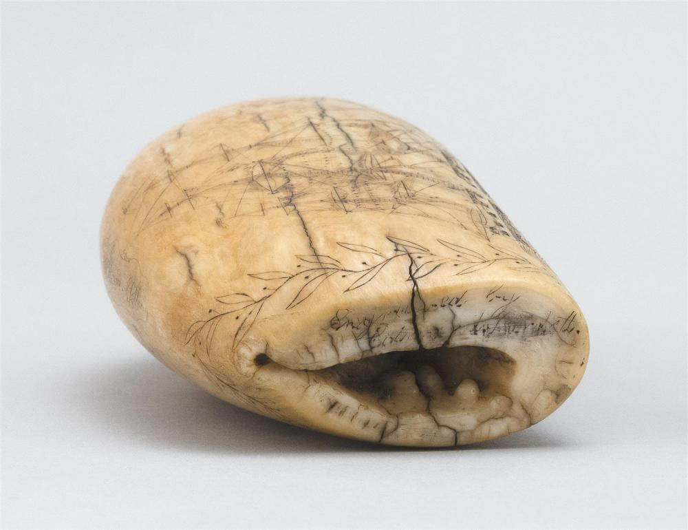 SCRIMSHAW WHALE'S TOOTH BY EDWARD BURDETT Inscribed on edge