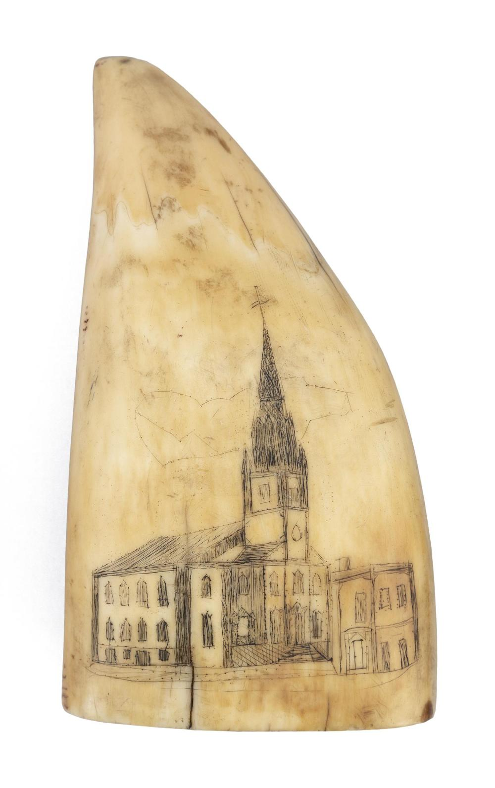"""SCRIMSHAW WHALE'S TOOTH DEPICTING A CHURCH Believed to be a scene in Portsmouth, New Hampshire. Some pinpoint elements. Length 4.5""""..."""