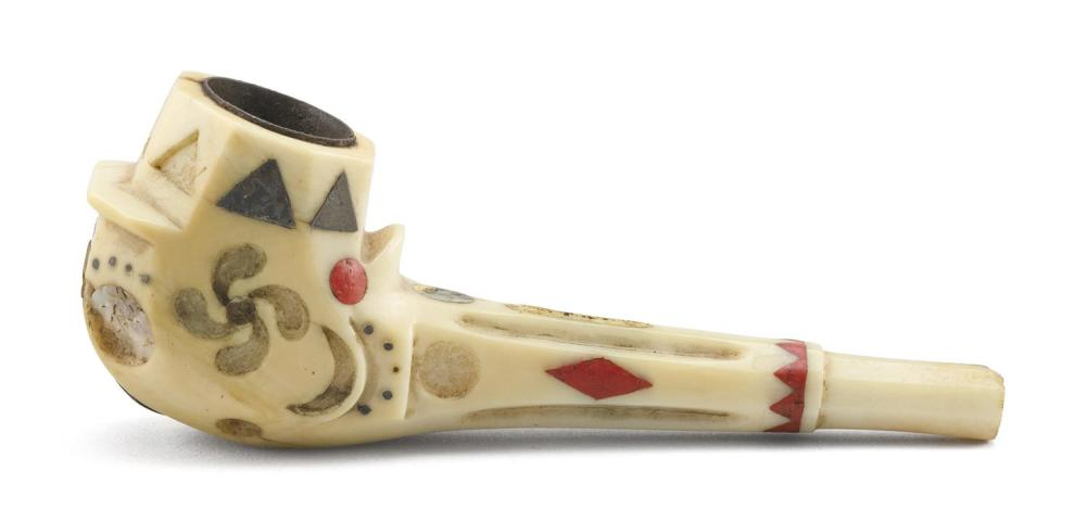 WHALEMAN-MADE CARVED AND INLAID WHALE IVORY PIPE Bowl with metal, abalone and red sealing wax inlay in the shapes of triangles, diam...