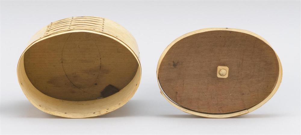 WHALEBONE AND WOOD DITTY BOX Lid with a wooden top, a whalebone lip, and a whale ivory knob and diamond-shaped escutcheon. Knob/escu...