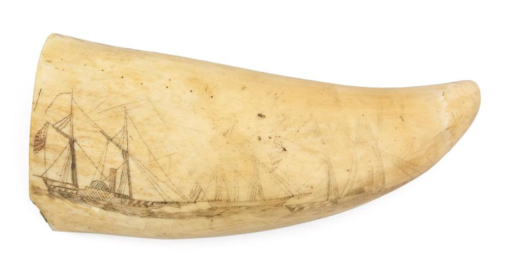 POLYCHROME SCRIMSHAW WHALE'S TOOTH DEPICTING GEORGE WASHINGTON Obverse depicts George Washington standing while resting his hand on...