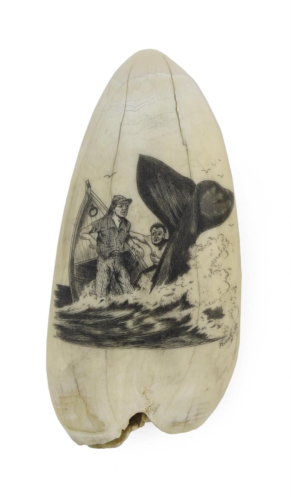* ENGRAVED WHALE'S TOOTH BY FRANK BARCELOS Depicts two whalemen in a stoved boat, with the whale's tail still visible. Signed lower..