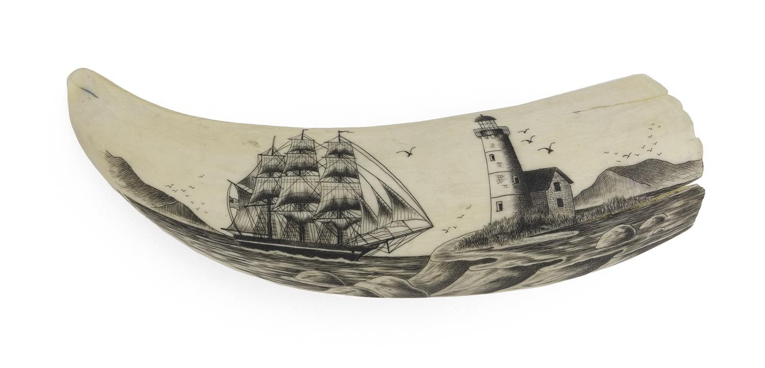* ENGRAVED WHALE'S TOOTH BY FRANK BARCELOS Finely rendered scene of a ship off a cliffside lighthouse, with numerous birds in flight..