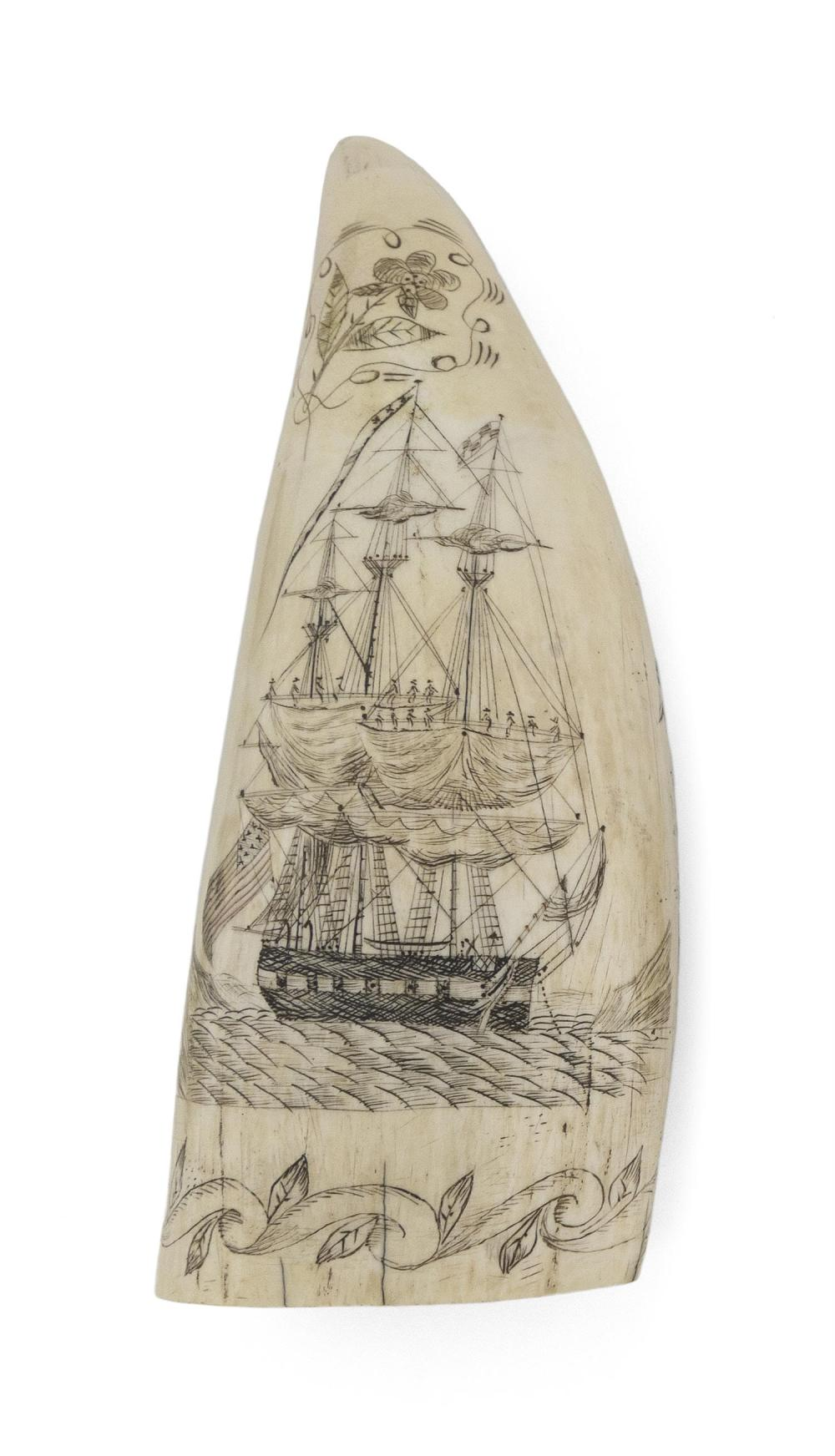 * POLYCHROME ENGRAVED WHALE'S TOOTH WITH MARITIME IMAGERY Obverse depicts a warship flying a large American flag off the stern, a lo..