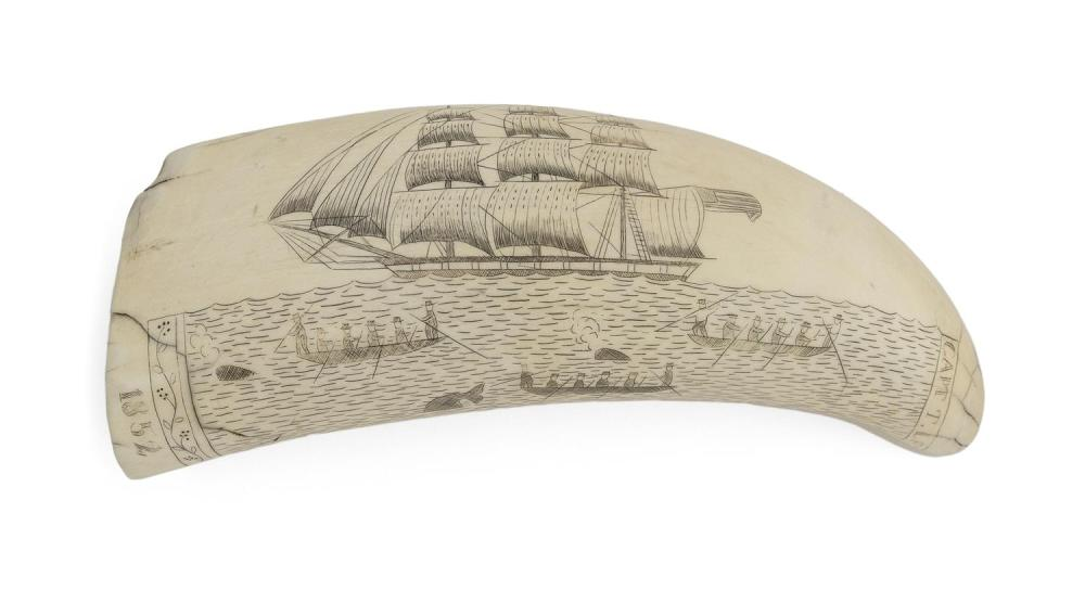 * ENGRAVED WHALE'S TOOTH WITH WHALING SCENE AND LADY LIBERTY Obverse depicts a whaling scene with a large whaleship flying a large A..