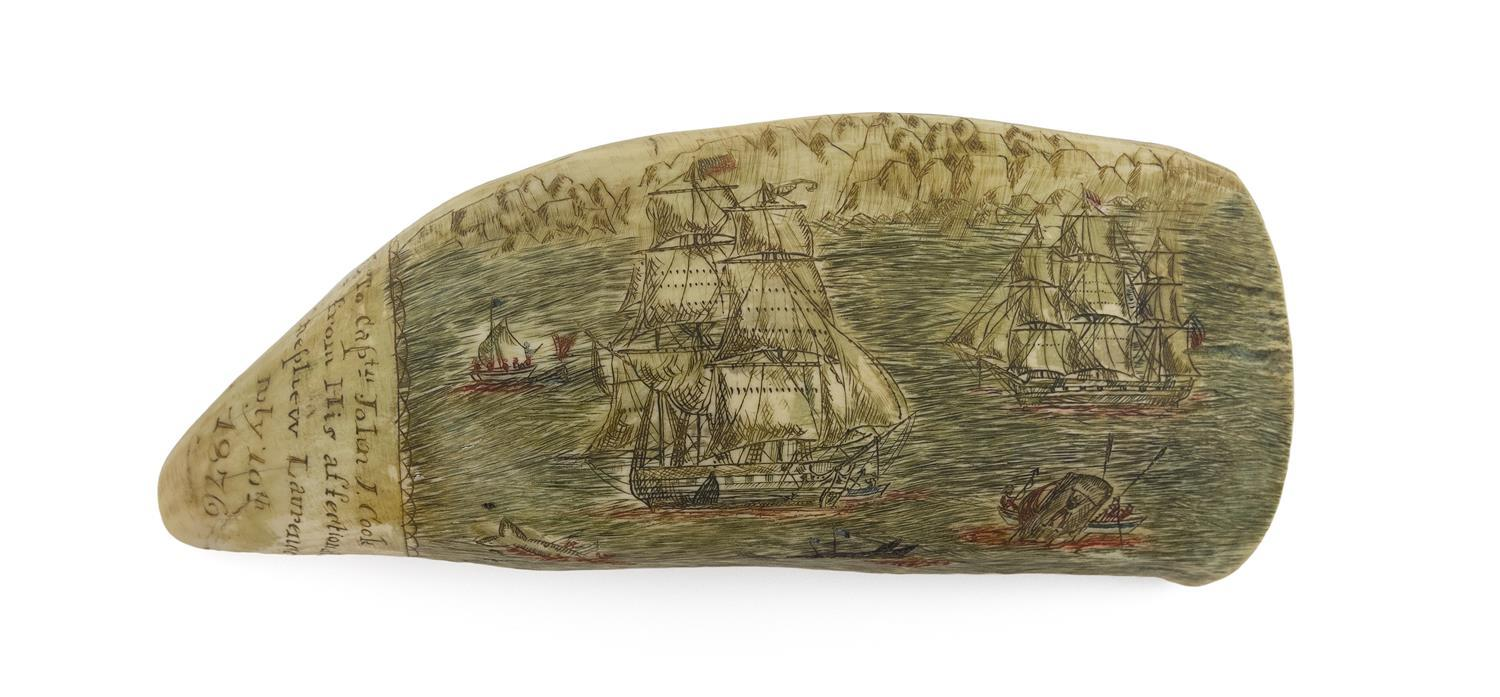 * POLYCHROME ENGRAVED WHALE'S TOOTH BY MANUEL CUNHA Depicts an offshore whaling scene with two whaleships, a whale stoving a whalebo..