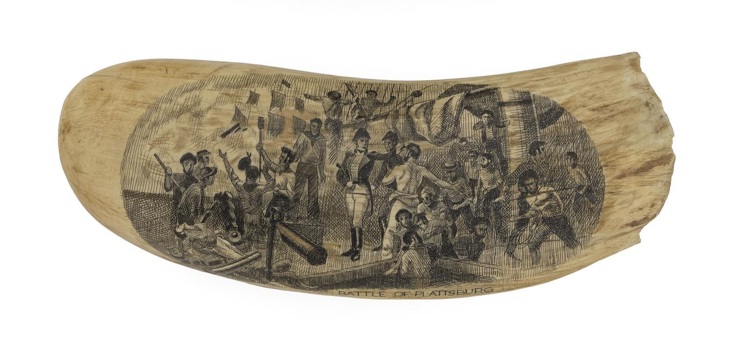 "* ENGRAVED WHALE'S TOOTH DEPICTING THE ""BATTLE OF PLATTSBURG"" Oval reserve with busy scene of hand-to-hand combat, probably aboard a.."