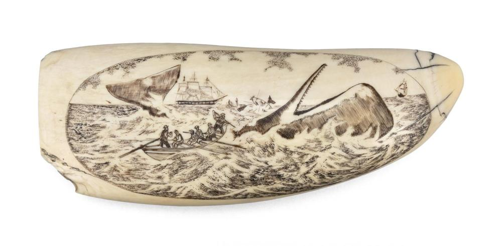 * ENGRAVED WHALE'S TOOTH Oval reserve depicts an active whaling scene with a whaleboat and whale in foreground and a whaleship and a..