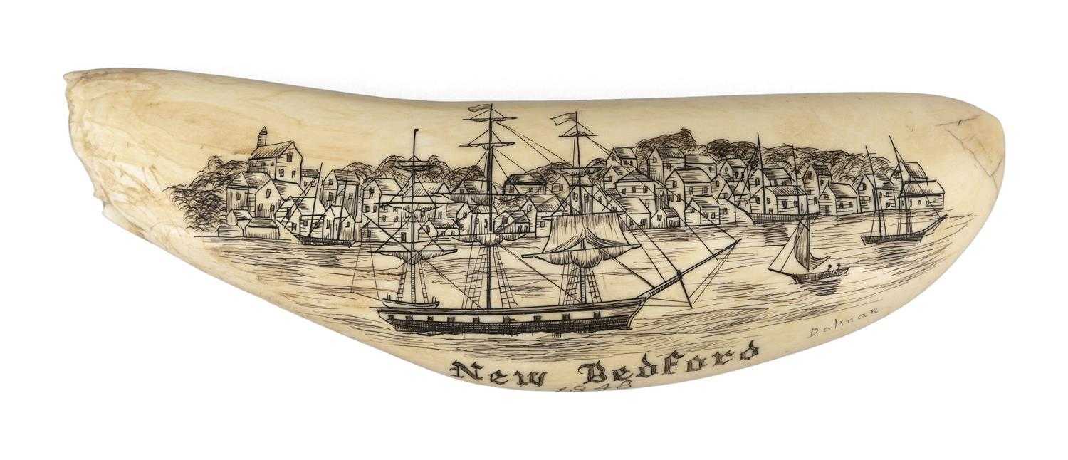 """* ENGRAVED WHALE TOOTH BY GIL DOLMAN, JR. Titled """"New Bedford 1848"""", depicts the New Bedford shoreline as seen from the water, with..."""