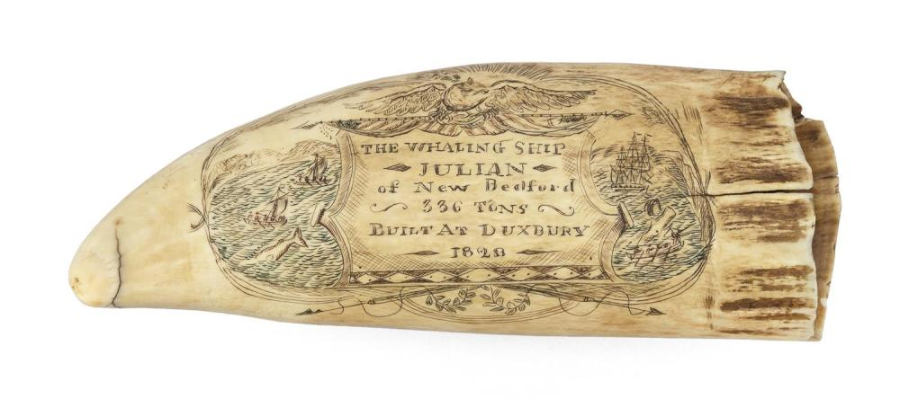 * POLYCHROME ENGRAVED WHALE'S TOOTH PERTAINING TO THE SHIP JULIAN OF DUXBURY Obverse with an oval reserve depicting an active whalin..