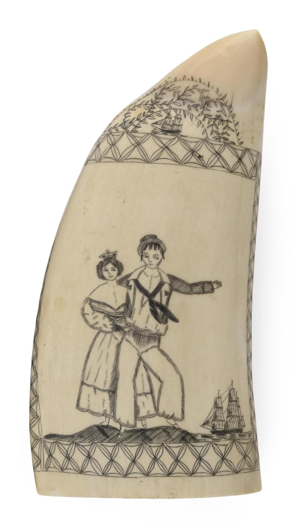 SCRIMSHAW WHALE'S TOOTH BY A CERES ARTISAN Depicts a sailor and his lady on the shore, with a ship sailing in the distance. Scene fr..