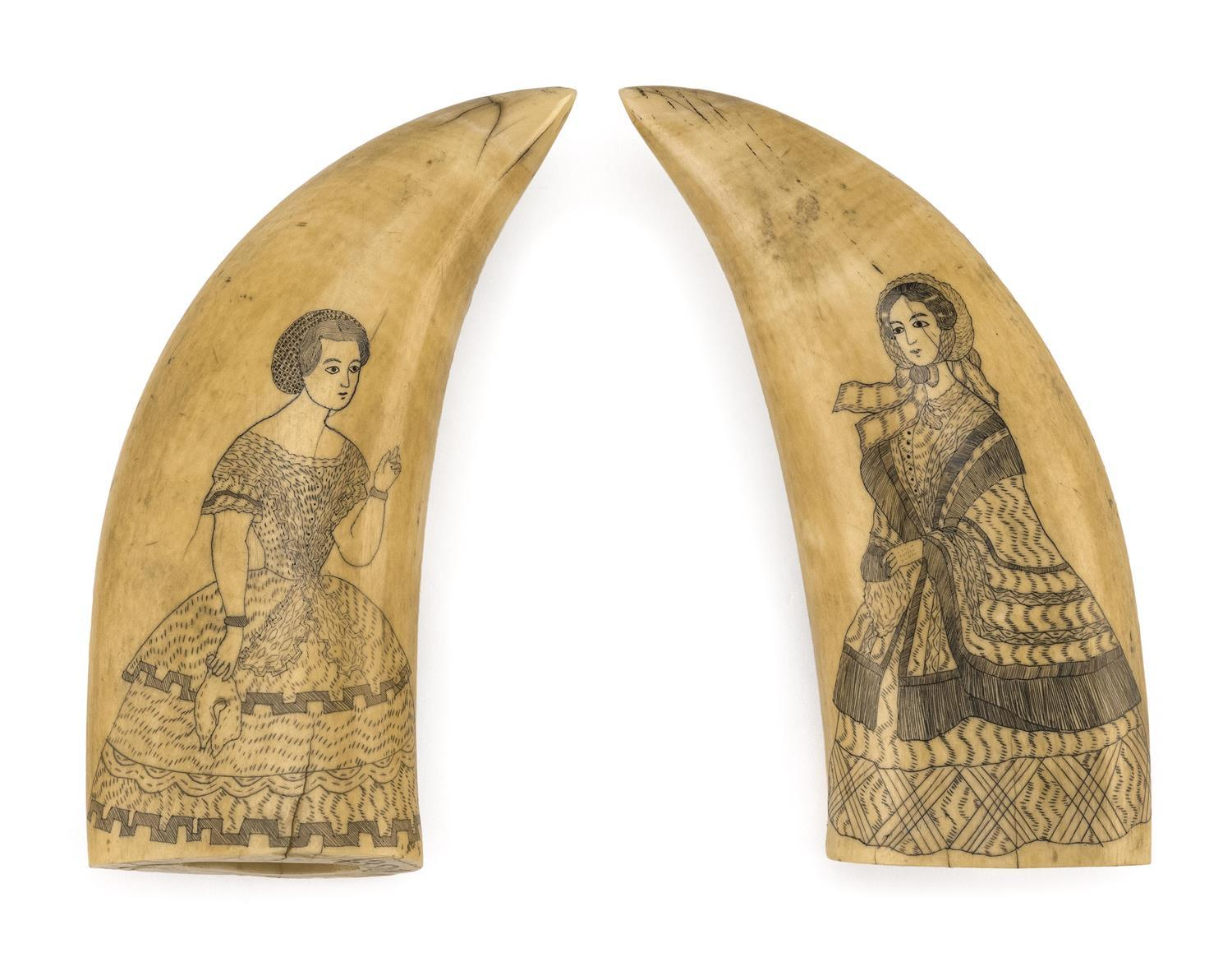 PAIR OF POLYCHROME SCRIMSHAW WHALE'S TEETH DEPICTING FASHION PLATE LADIES Both teeth with finely rendered portraits of elaborately d..