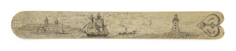 SCRIMSHAW WHALEBONE BUSK Depicts a shore scene with a large twin-domed building, a sea-washed lighthouse, a large three-masted vesse...