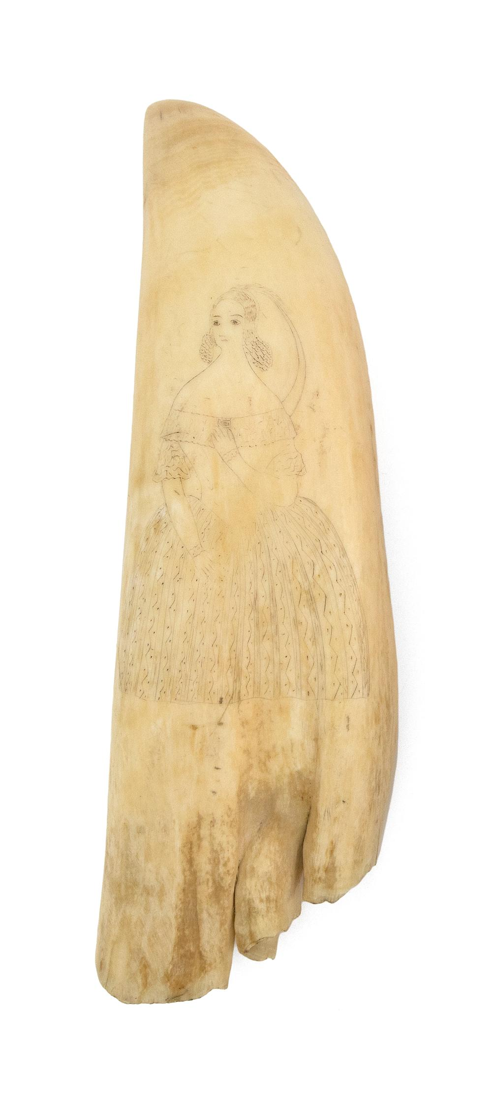 SCRIMSHAW WHALE'S TOOTH DEPICTING LADIES One side depicts a woman in a bonnet and patterned dress holding a fan in her right hand. O..