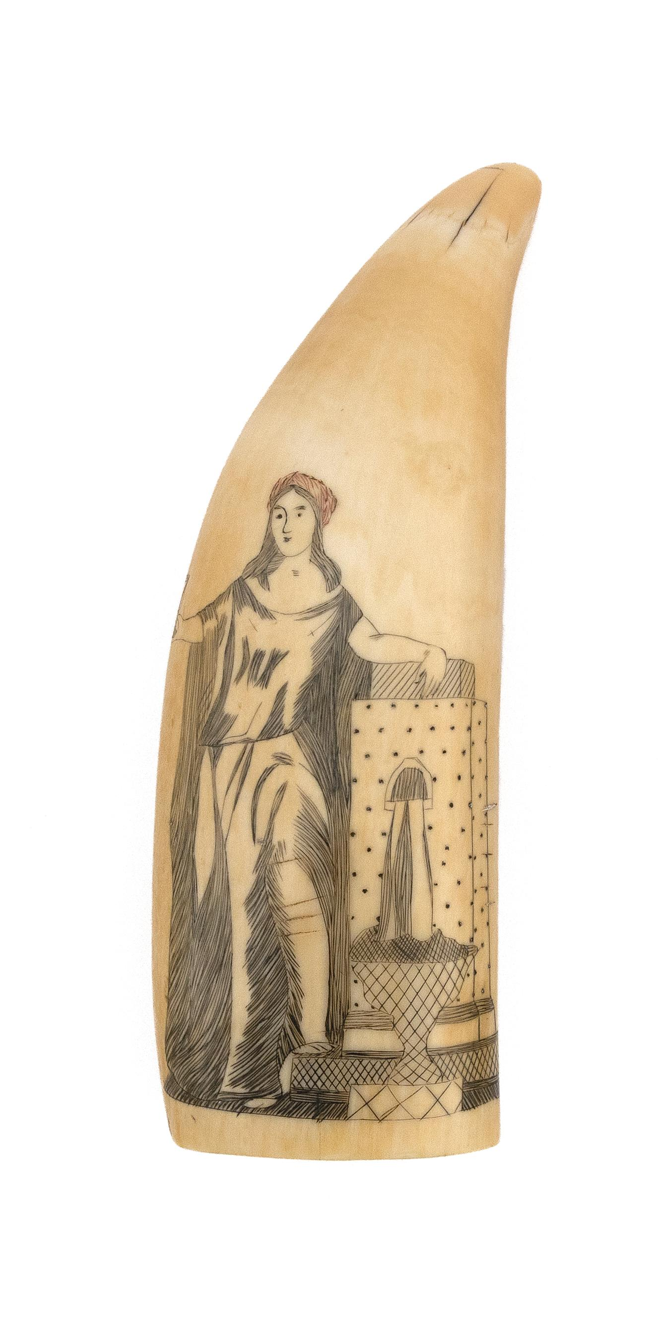 POLYCHROME SCRIMSHAW WHALE'S TOOTH WITH ALLEGORICAL FIGURE Figure with red cap holds a chalice in one hand and rests the other hand...