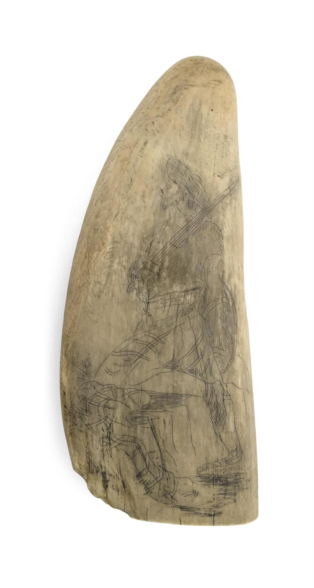 SCRIMSHAW WHALE'S TOOTH WITH IMAGES OF SCOTSMEN Obverse depicts a Scotsman holding his sword over his shoulder and a round shield in..