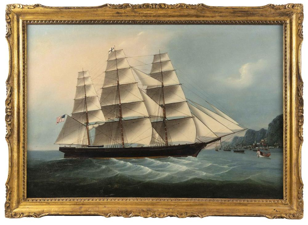 """CHINESE SCHOOL, Circa 1856, American clipper Daring at Hong Kong, flying the Bush & Comstock house flag., Oil on canvas, 30.75"""" x 44..."""