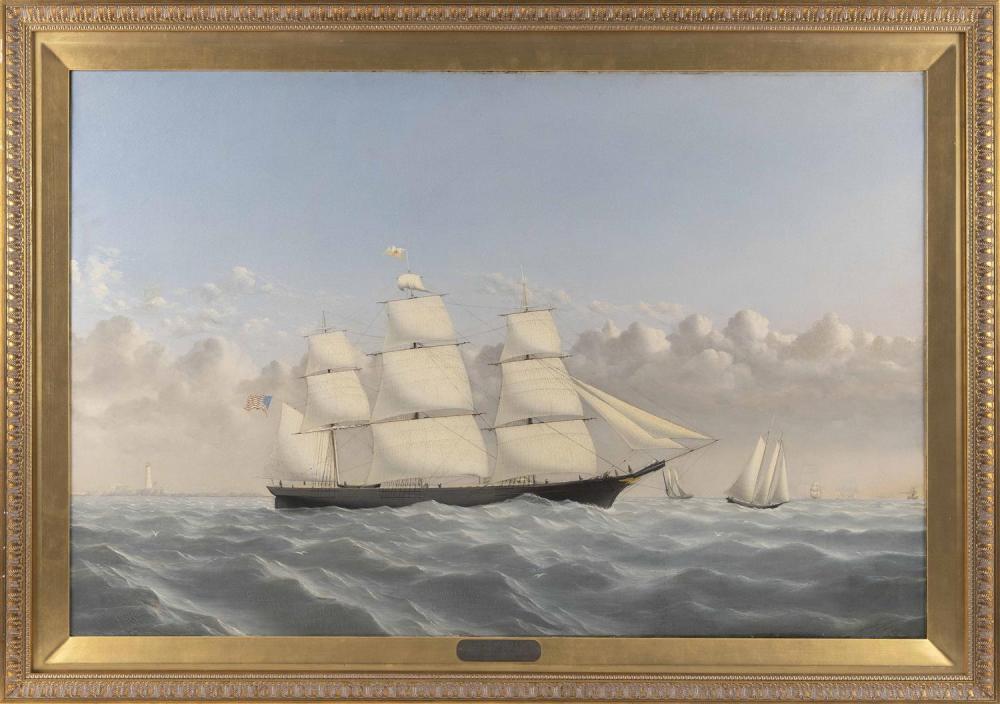 "WILLIAM BRADFORD, Massachusetts/California, 1823-1892, Clipper Golden West of Boston, outward bound, circa 1852., Oil on canvas, 32""..."