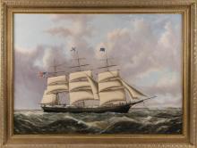 JOSEPH B. SMITH AND SON, New York/New Jersey, 1798-1876, Medium clipper Ocean Express approaching San Francisco, circa 1856., Oil on...
