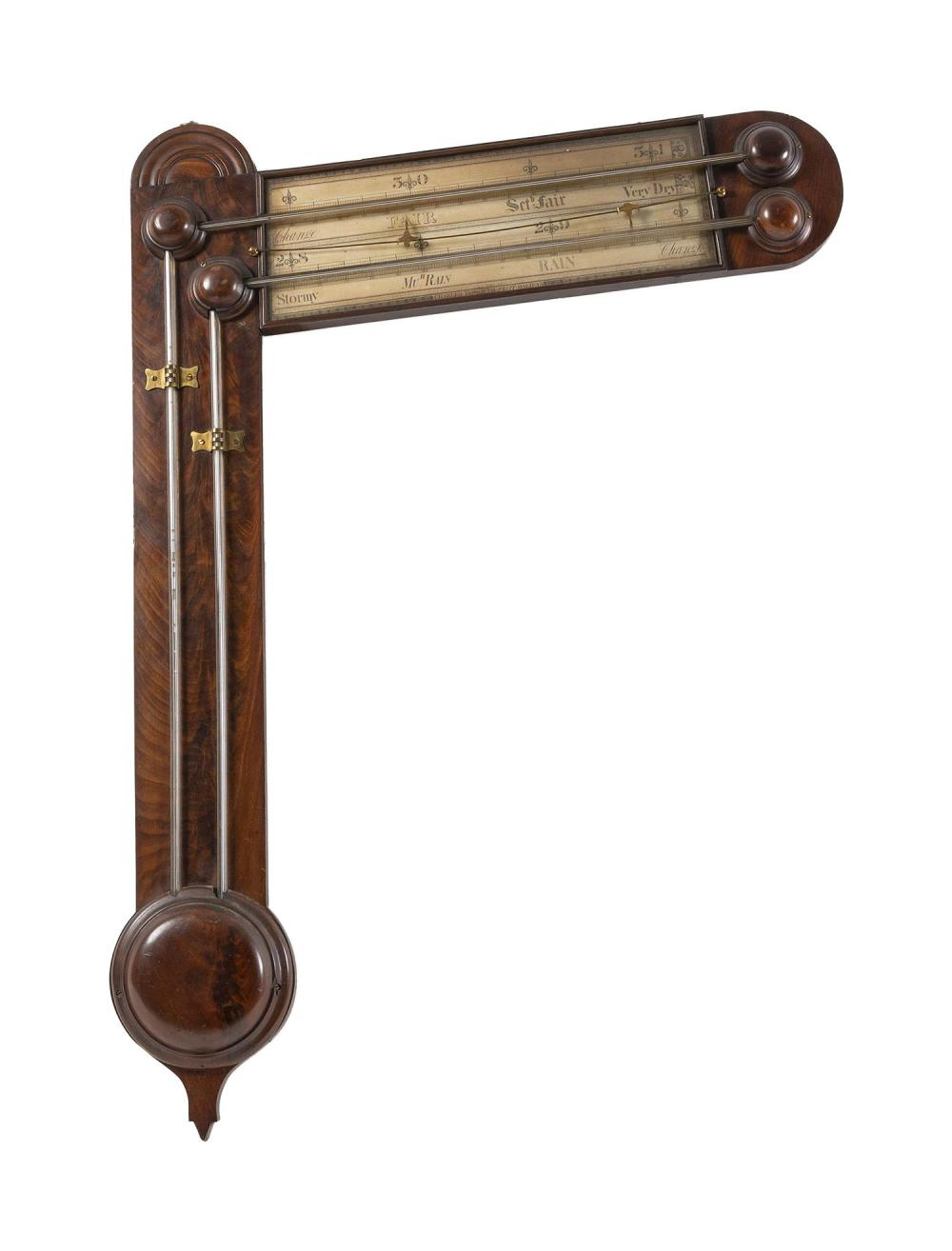 """VICTORIAN ANGLE BAROMETER BY CHARLES HOWORTH Signed on the paper scales """"Charles Howorth - Fecit - Halifax"""". Burled mahogany frame i..."""