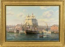 """ROY CROSS, United Kingdom, b. 1924, Busy scene of Commercial Wharf, Boston Harbor, in the 19th Century,, Oil on canvas, 24"""" x 36"""". F..."""