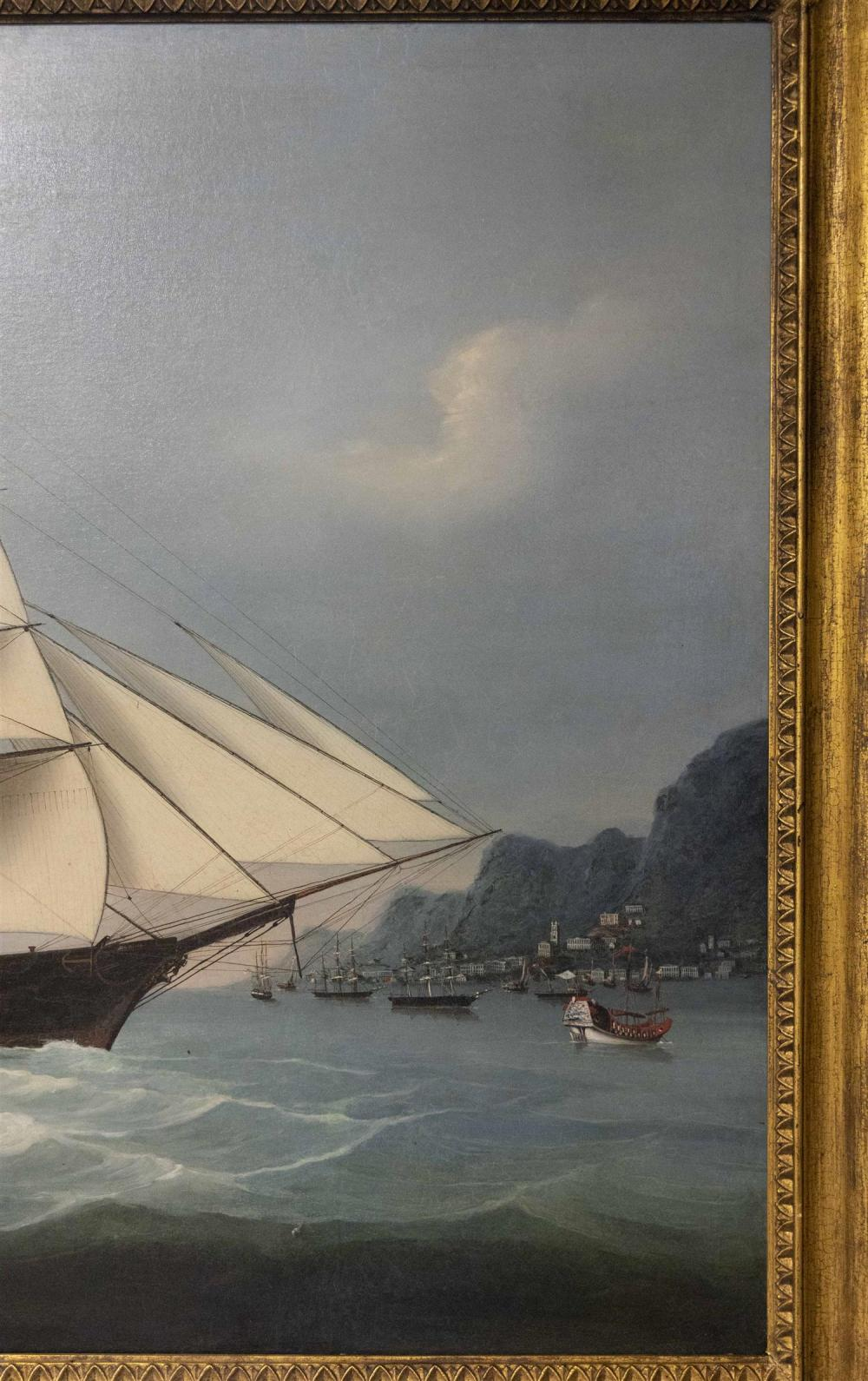 CHINESE SCHOOL, Circa 1856, American clipper Daring at Hong Kong, flying the Bush & Comstock house flag., Oil on canvas, 30.75