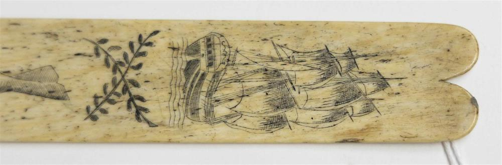 SCRIMSHAW WHALEBONE BUSK Depicts a stern view portrait of a ship, a sperm whale,