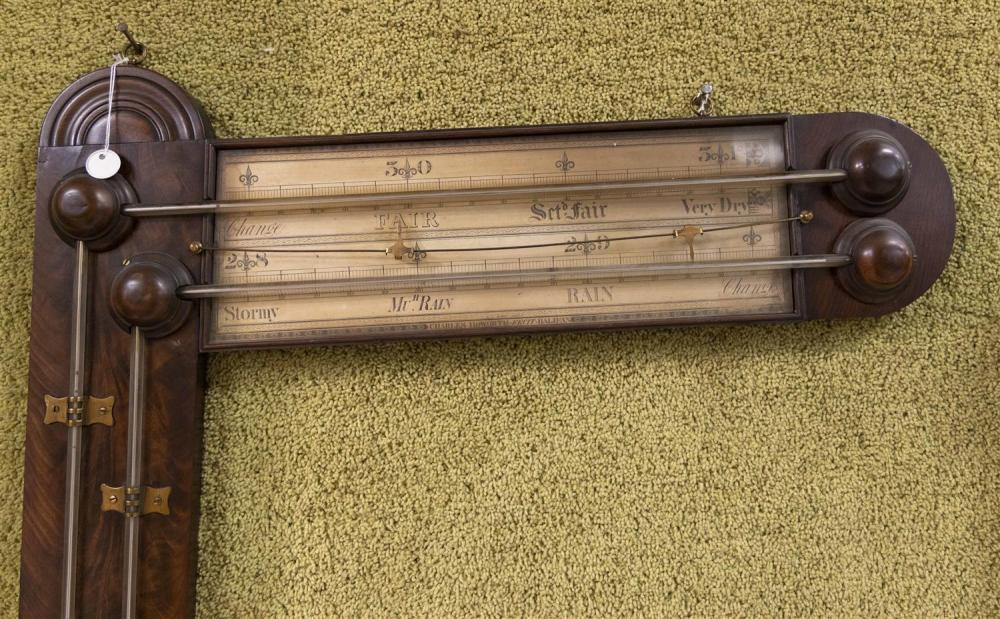 VICTORIAN ANGLE BAROMETER BY CHARLES HOWORTH Signed on the paper scales
