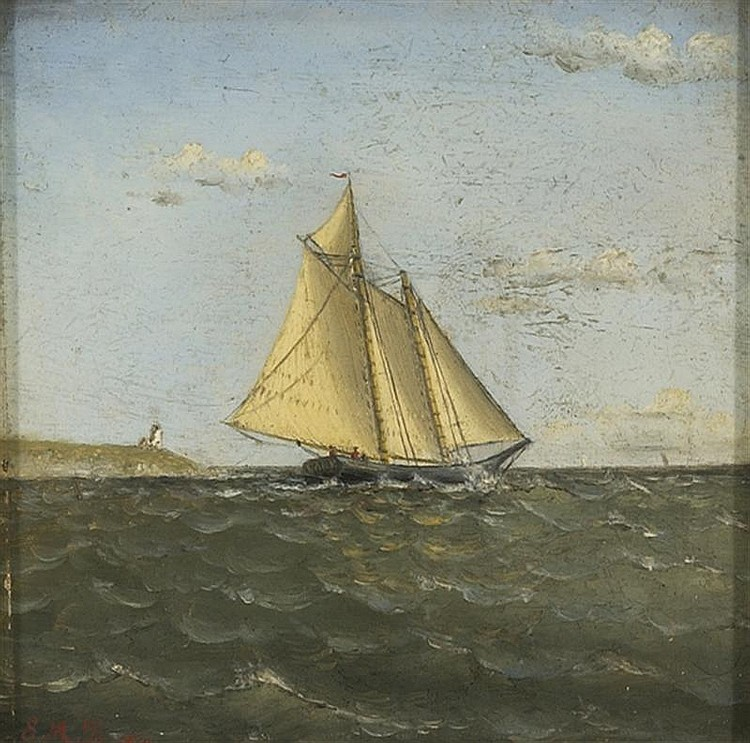 ATTRIBUTED TO EVELYN M. BICKNELL, American, 1857-1936, Schooner off Point Gammon Light, Hyannis Harbor., Oil on board, 5¼