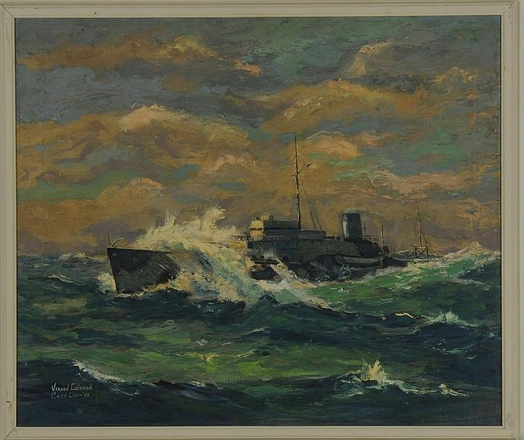FRAMED PAINTING: VERNON HERBERT COLEMAN (Cape Cod, 1898-1978). A Naval vessel on high seas. Signed and dated lower left