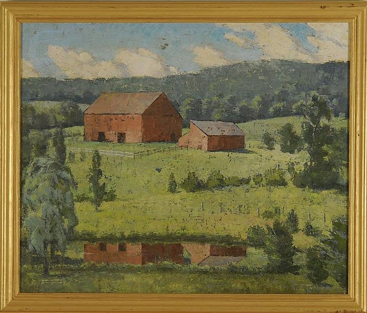 FRAMED PAINTING: ANNE FISHER TATLOCK (American, 1916-2003). A red barn in a New England landscape. Signed lower right. Oil on canvas...
