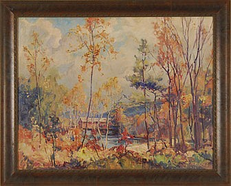 FRAMED PAINTING: CHARLES VERMOSKIE (American, 1905-1991). Autumn landscape with covered bridge. Signed and dated lower right