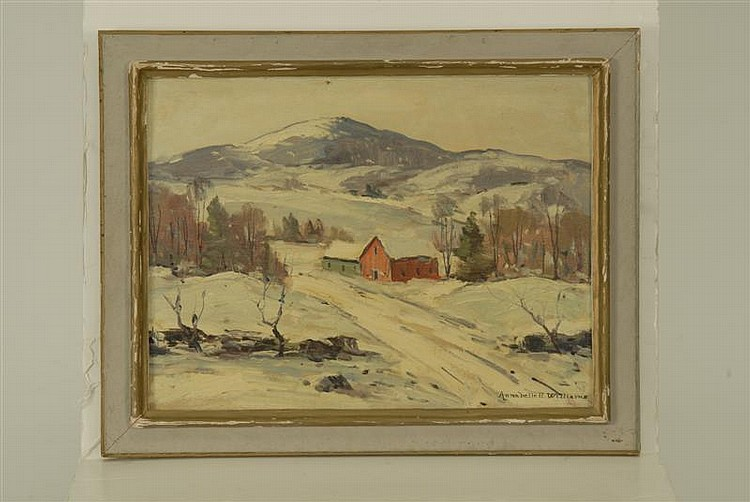FRAMED PAINTING: ANNABELL E. WILLIAMS (American, 20th Century). New England winter landscape. Signed lower right
